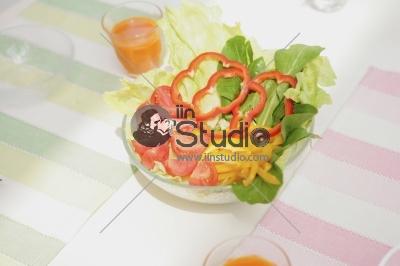 Healthy fresh salad setting on table