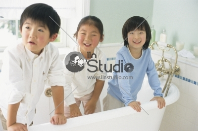 Three Children in the bath room