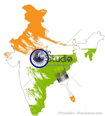 Indian Map colored with Indian Flag