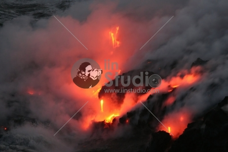 Lava flowing into the sea. Kilauea Volcano, Hawaii