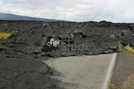 Lava Field Covering Road in Hawaii Volcanoes National Park (Chain of Craters Road)