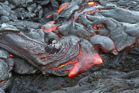 Glowing red hot lava.