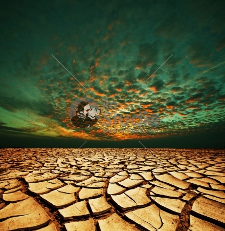 drought land in green sky