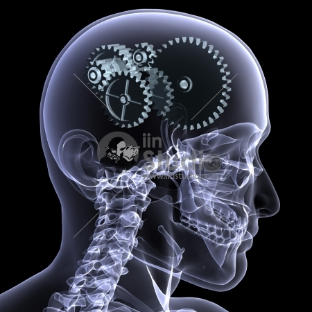 Close-up X-Ray of a male skeleton head with a series of gears for the concept of thought
