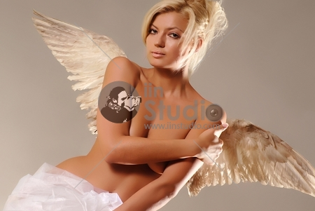 Beautiful young woman with christmas-like angel wings