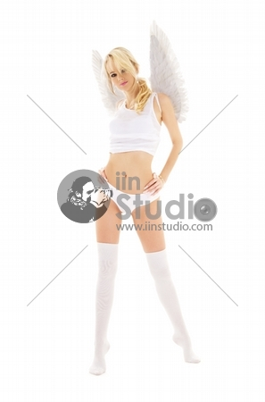 picture of lingerie angel in stockings over white