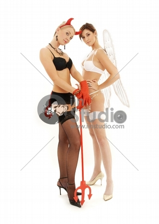 picture of angel and devil girls over white