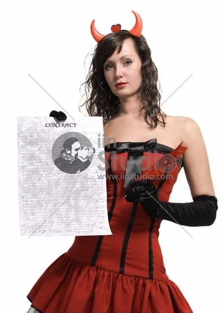 Beauty attractive red devil girl with a contract over white