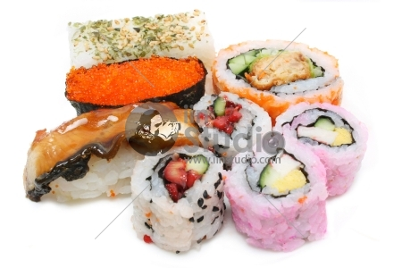 A set of variety sushi put together over white background.