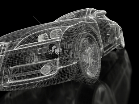 car 3d model on a black background