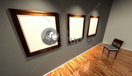 3d retro frames with old fashioned chair