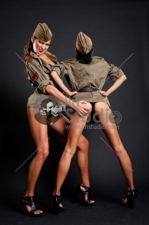 Two Passionate Women In Military Uniform