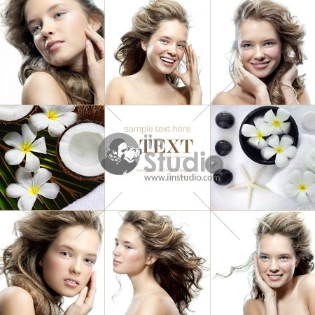 spa collage of attractive smiling woman on white background and spa objects