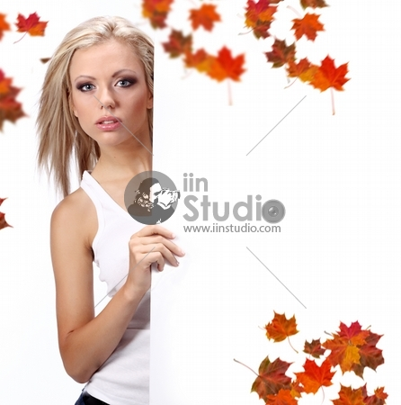 sexy girl holding a poster over a white background