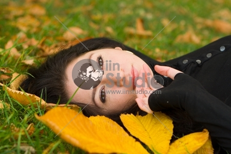 beautiful girl and autumn