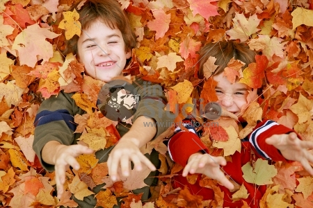 Boys Throwing Fall Leaves