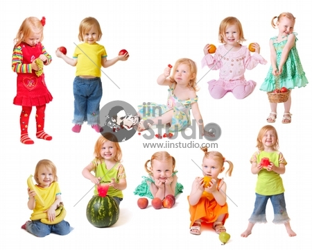 beautiful little girl with fruit