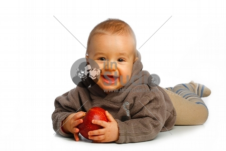 little child baby with apple