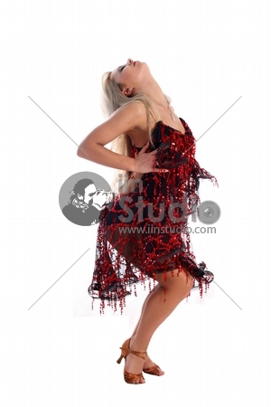 Blonde Latin Dancer Isolated In White