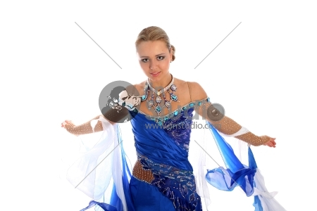 Dancer In Classical Blue-White Dress