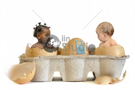 Beautiful babies inside eggs isolated in white