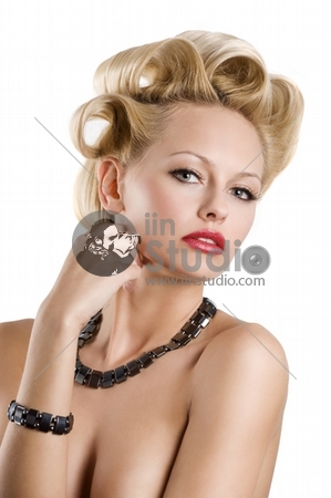 cute blond woman with creative hair