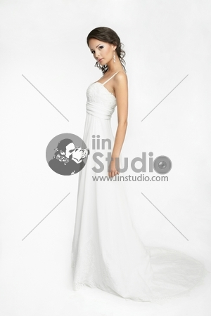 Happy beautiful bride white background up cloth, white