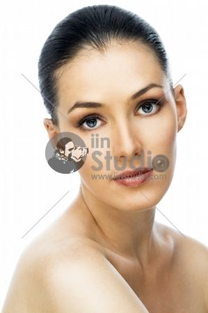 A beauty girl on the white background