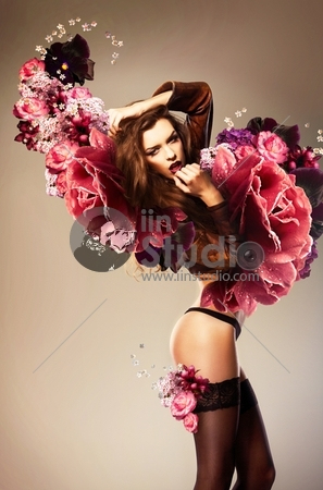 Beautiful Erotic Woman With Flower Wings
