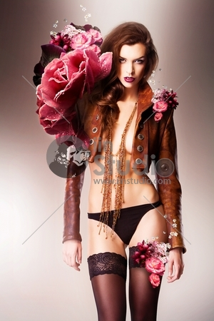 Pretty Beautiful Erotic Flower Woman In Panties And Brown Jacket