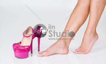 French pedicure and fashion pink high heels