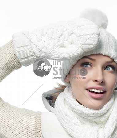 beautiful woman in warm clothing closeup portrait