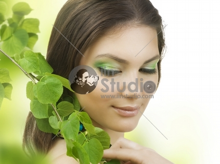 Spring Beauty outdoors.Perfect skin