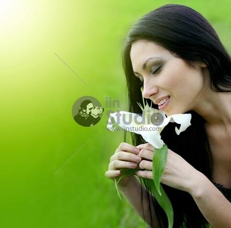 beautiful woman lily flower
