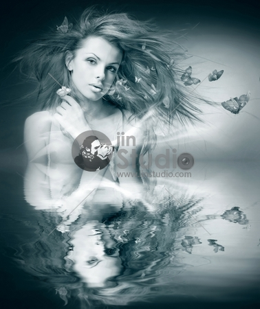 black and white Portrait beautiful young woman with butterfly