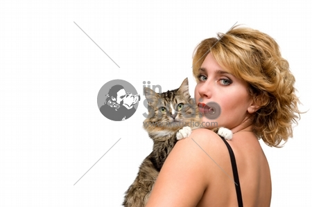 Portrait of young girl with cat isolated over white