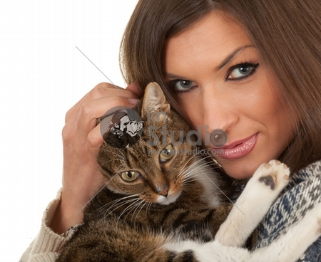 smiling young woman in warm sweater with grey cat