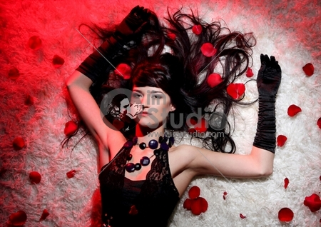 beautiful romantic woman with red rose