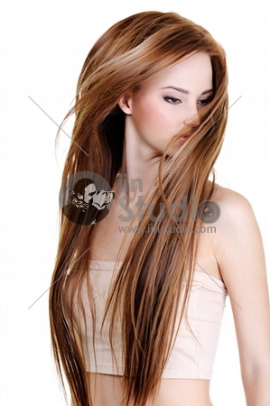 portrait of the cute young woman with beauty long straight hairs - isolated on white