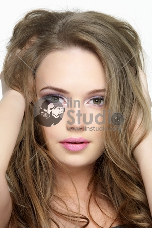 Closeup portrait of beautiful pretty face of young girl - close-up portrait