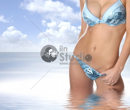 Young sexy blond isolated on white background