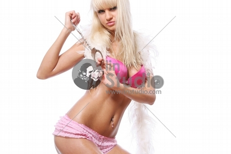 young and beautiful girl on white