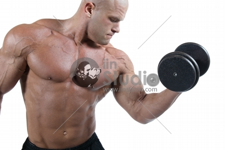 Bodybuilder Exercising-Isolated On White Background