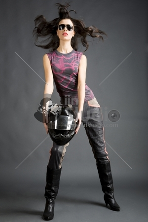 Posing girl with helmet