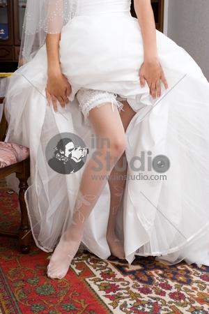 Wedding preparation. Garters and stockings