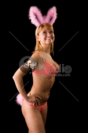 Sexy bunny girl. Isolated over black background