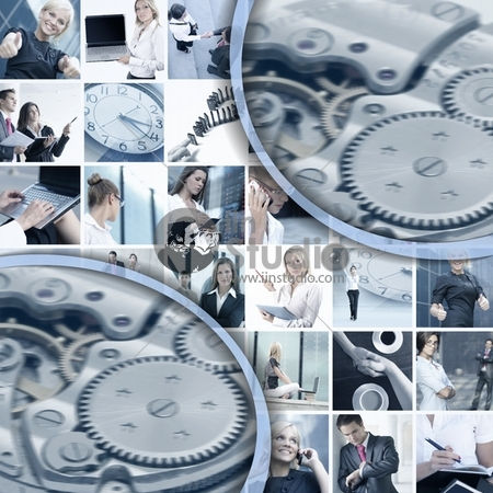 Business collage made of many business pictures and abstract elements