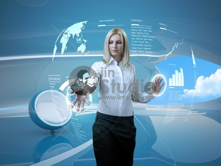 Attractive blonde with interface in futuristic interior (outstanding business people in interiors / interfaces series)
