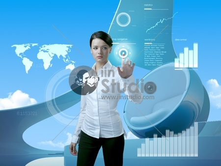 Attractive brunette with interface in future interior (outstanding business people in interiors / interfaces series)