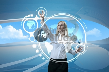 Attractive blonde on future background (outstanding business people in interiors / interfaces series)